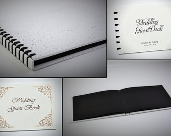 Black wedding guest book, personalized photo album, custom photo books, rustic wedding memory journal