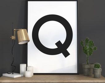 Q Letter Print, Initial Wall Art, Scandinavian Art, Scandinavian Poster, Initial Poster Q Letter Poster, Q Letter Print, INSTANT DOWNLOAD