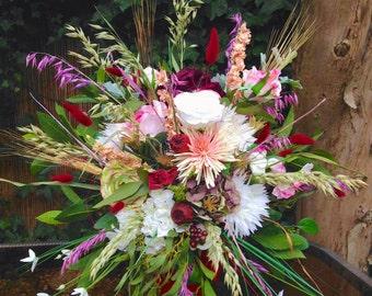Eglantine Bouquet/ Floral arrangement, brides bouquet, wedding flowers, Roses, ranunculus, berries, wheat