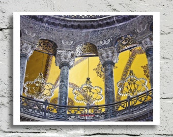 Hagia Sophia Photography, Istanbul, Turkey, Stone Carved Arches, Chandeliers, Fine Art Print, Affordable Art, Home Decor