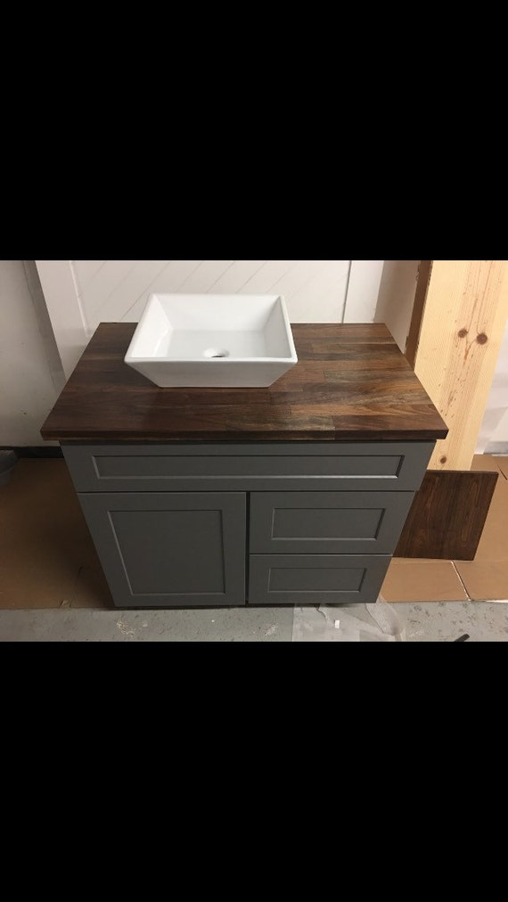 Modern Custom Vanity with Countertop Vessel Sink and Faucet Combo