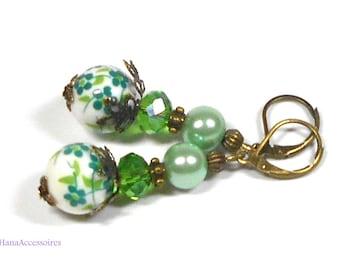 Green earrings * green flowers * porcelain earrings of green earrings porcelain earrings