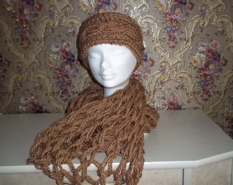 knitted, soft, Brown Wickelnetzschal with headband for women