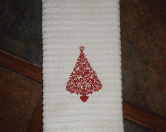 Hand Towel - Red Christmas Tree