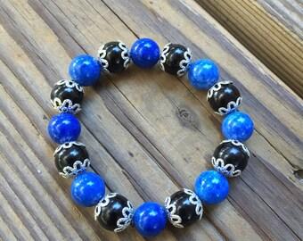 Blue Black Flower Cap Bracelet
