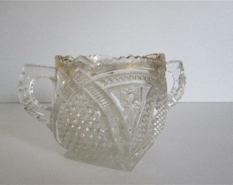 Vintage Glass Clear Sugar Bowl with Gold Trim