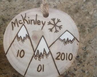 Personalized Mountain Christmas Ornament - birthdate, anniversary