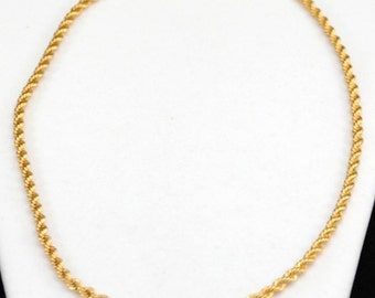 Vintage NAPIER Gold Tone Rope Chain Necklace....Nice.....J364
