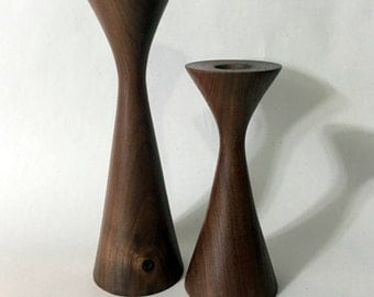 Rude Osolnik inspired, mid century style, hand turned walnut candlestick holders - set of two candle holders