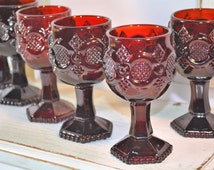 Ruby Red Goblets, Vintage Avon, 1876 Cape Cod Collection, Red Glassware, Goblets, Barware, Bar Set, Gifts