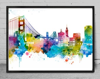 San Francisco watercolor Skyline Print, Watercolor Print, Watercolor Painting, City Wall Art, Cityscape painting, Art, Print, Gift -x172