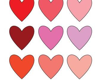 80% OFF SALE Valentine Hearts Clipart Digital Clipart Digital Images (cl3)
