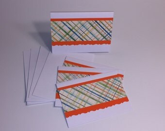 Orange and Blue Boxed Note Card Set (Set of 4 cards with envelopes)