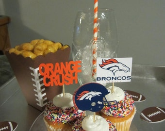 Cupcake toppers, party supplies, Denver Broncos, football, sports theme, Orange Crush