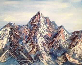 Original Gouache Mountain Painting