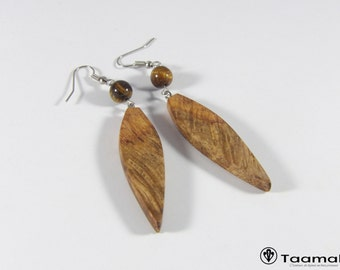 Earrings made of Amboina to India with scrub gemstones Brown Tiger eye beads natural.