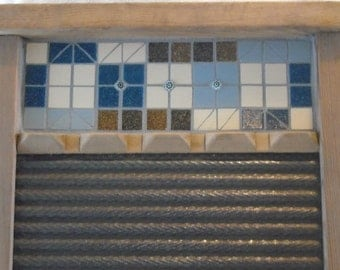Mosaic Antique Washboard in Geometric Blues