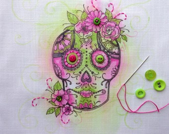 Sugar skull art, embroidery pattern, Day of the Dead.