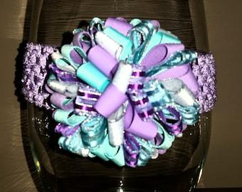 Lavender/Teal/Silver Pom Pom Bow Waffle Headband