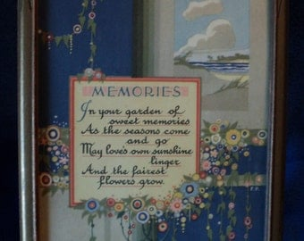 "Art Nouveau print titled ""Memories"" by Morris & Bendien Inc. New York in vintage frame"