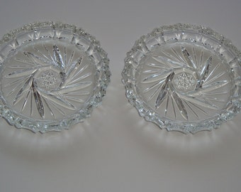 Pair of  Vintage Genuine Pinwheel Hand Cut Lead Crystal Coasters
