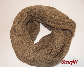 Chunky Solid Color Cable Knitted Infinity Scarf Taupe