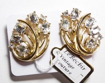 Vintage Gold Tone Rhinestone Leaf Shaped Clip-on Earrings signed Trifari