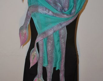 Handmade Nuno Felted Eco Superfine Merino Wool and Silk-Shiffon Long Scarf OOAK