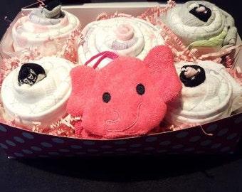 Baby Girl Box Cupcake With Pink Elephant Washcloth Gift Set