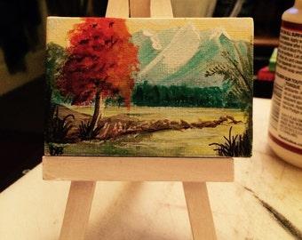 Miniature Landscape , mountains , trees, colorful