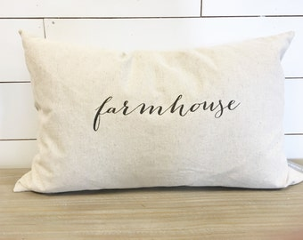 Farmhouse Kidney Pillow Cover 16 x 26 // Farmhouse / Farm Decor / Farmhouse Decor / Rustic Decor / Accent Pillow / Throw Pillow / Gift