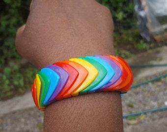 Rainbow multicolour wide art deco beaded bracelet