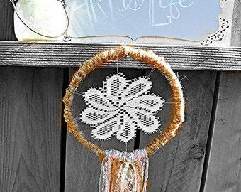 Dreamy Bohemian Vintage Style Crochet Doily Dreamcatcher with Lace Fringe, Hand Woven