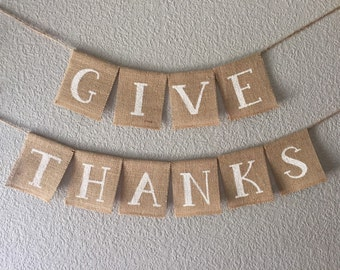 Give Thanks Banner | Thanksgiving Banner | Fall Banner | Thanksgiving Decor | Fall sign | Thanksgiving decorations
