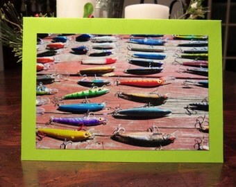 Fishing Lures.  Photo Greeting/Note Card.  Blank Inside
