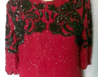 Vintage 1980's 100% Silk Red/Black Sequin Blouse - size 14