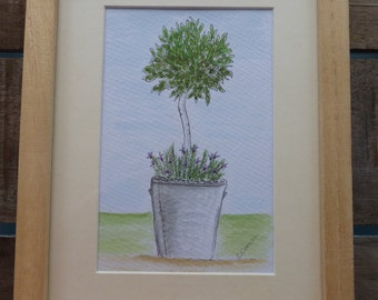 Hand Painted Framed Watercolour 'Bay Tree'