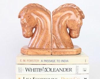 Vintage ceramic brown horse head bookends - set of 2 - orange brown bookends - vintage home decor