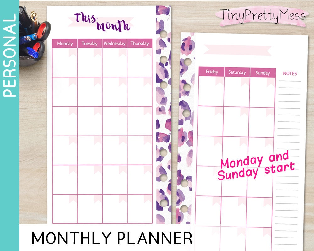 printable personal calendar monthly planner month on 2 pages