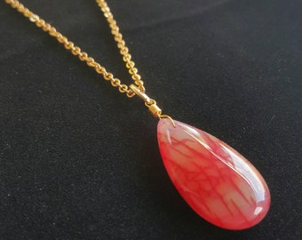 ELEGANT Pink Agate Necklace! Gold or Silver-Made to Order