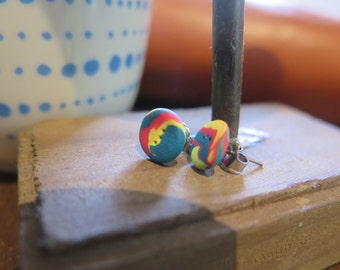 Hot Pink, Blue & Yellow earrings