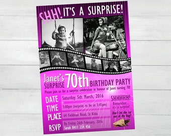 SURPRISE BIRTHDAY INVITATION Movie Film Reel Design, 50th, 60th, 70th, 80th birthday invitation. Customizable and Personalized.