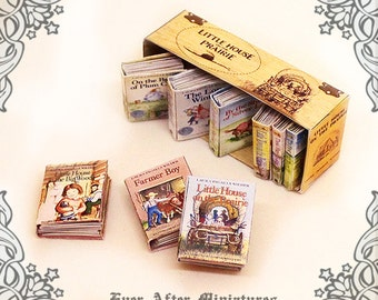 9 Little House on the Prairie Dollhouse Miniature Book Set by Laura Ingalls Wilder (1:12) - Full set of 9 Volumes + Box - Printable DOWNLOAD