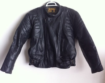 Black Vintage leather motorcycle jacket, size large.