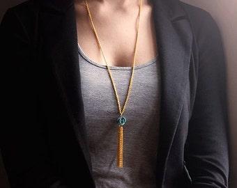 Necklace gold blue flower