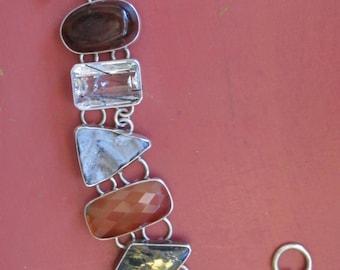 Vintage Six Stones and Sterling Silver Link Bracelet