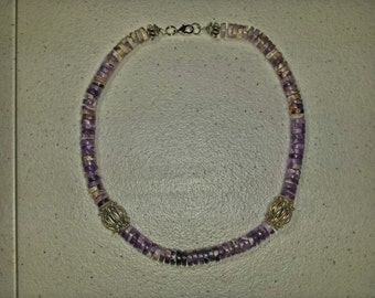 genuine amethyst semiprecious stone he is hi and Bali silver necklace