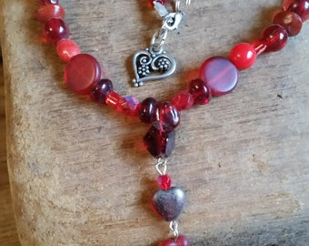 Red glass bead heart necklace
