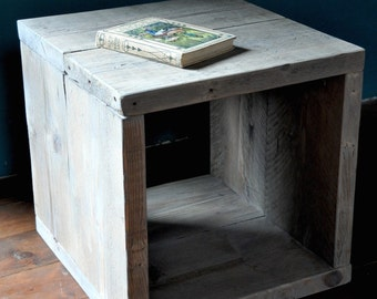 Reclaimed wood Bedside Side Table Industrial Rustic Modern Furniture Scaffold boards Solo Upcycled Furniture End Table
