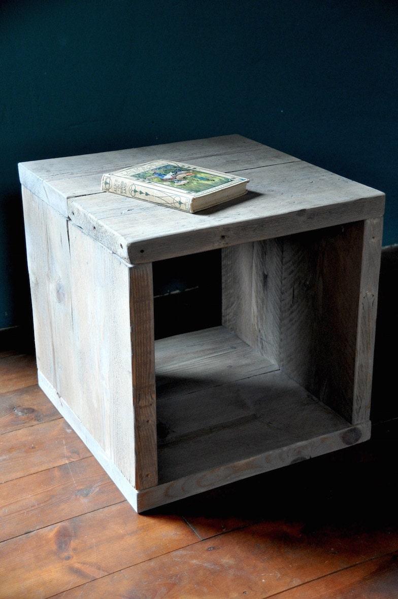 Rustic Wood Bedside Table: Reclaimed Wood Bedside Side Table Industrial Rustic Modern